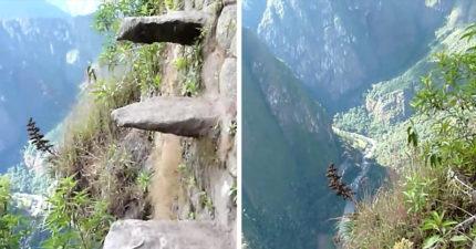 馬丘比丘的「死亡階梯」踩空立刻死亡,你沒有懼高症看到一半都會腿軟! (影片)