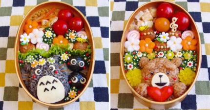 日本超強人妻在便當裡不只做出人物還設計場景!#4熊本熊可愛到不捨得吃!(10張)