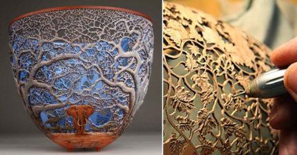 26款會讓你密集恐懼發作「看到裡面卻超滿足」的絕美大自然木雕盆!