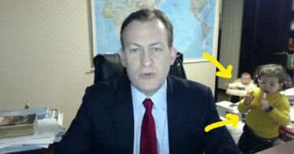 國際新聞記者嚴肅訪談到一半「小孩衝進房間」,讓節目重點「失焦」爆笑到變成全球頭條!(影片)