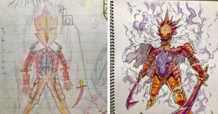 10張老爸把兒子畫的童趣卡通人物改成「超殺酷炫漫畫角色」圖,#5殺人機器球威到爆!(Part 2)