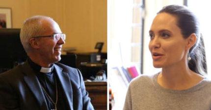 安潔莉娜與大主教面談被爆「乳首激凸」搶重點,引網友「開炮」!