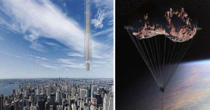 美建築公司設計「倒吊小行星上」懸空摩天樓,離開時只能靠降落傘!