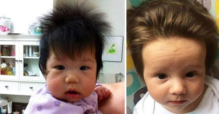 21個「才剛出生頭髮就比你還濃密」的在子宮裡就已經開始做造型爆髮寶寶。
