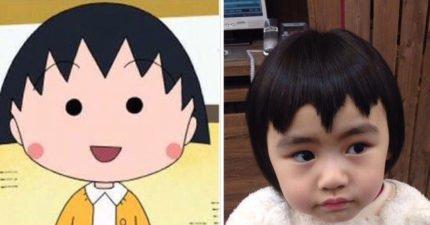女孩要求要剪「小丸子頭」,媽媽看到笑瘋!網友:「額頭超癢」!