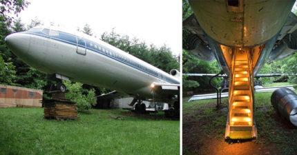 發明家住在森林裡的一台飛機裡面。他說「飛機是最完美住宅不該浪費」看過內部後你也會同意!