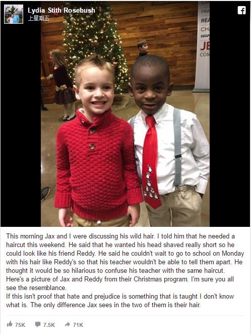 5歲男孩說要「剪跟朋友一樣的髮型」讓老師分不出他們,他們的照片證明「種族歧視是教出來的」!