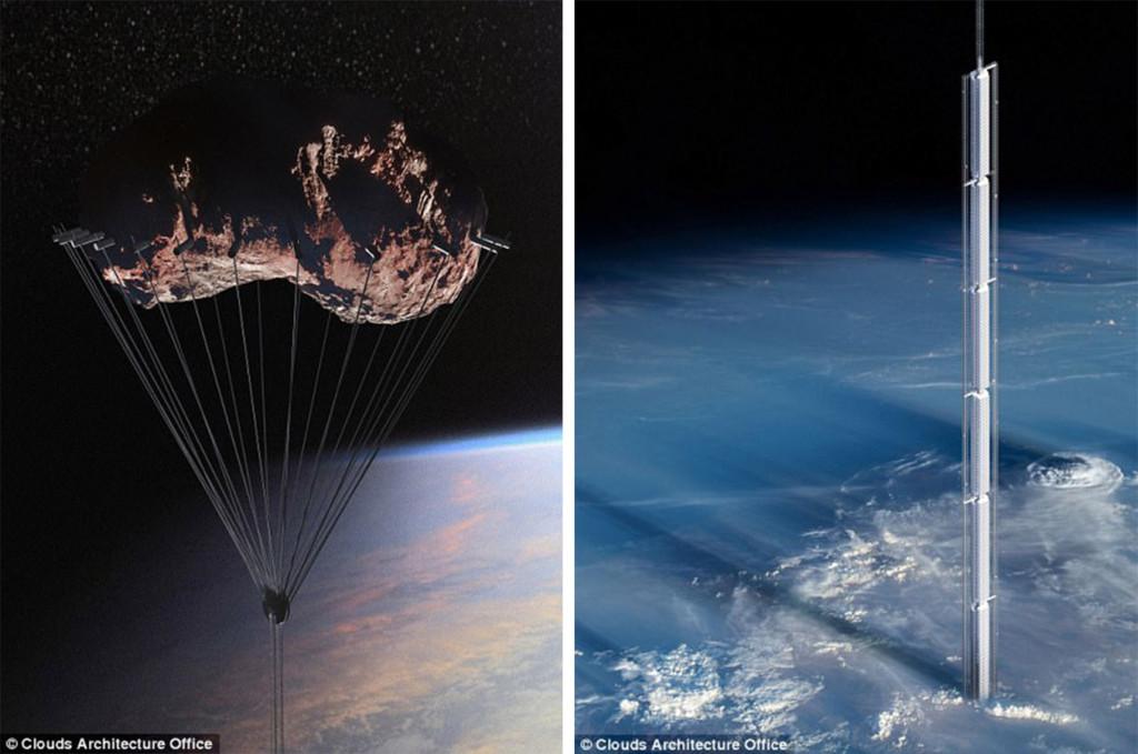 美建築公司設計「倒吊小行星上」懸空摩天樓 離開時只能靠降落傘!