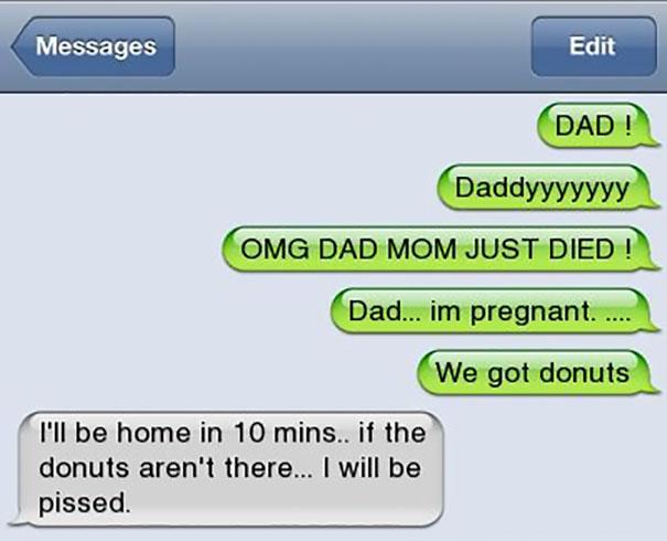17則會讓孩子想鑽回子宮裡的「超賤爸爸簡訊」。#9你媽好久沒掏出來玩了...