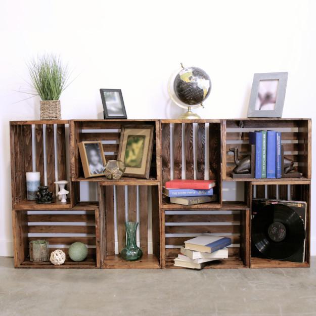 Glue together a few Knagglig crates for a cheap bookshelf.