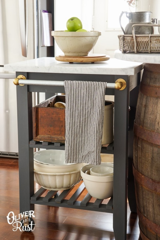 Attach a towel rack to the side of your Bekväm kitchen cart.
