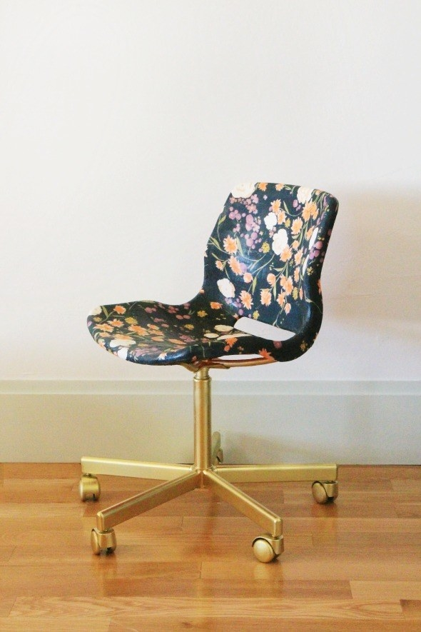 Cover a Vågsberg chair in your favorite fabric so that your legs aren't sticking to plastic.