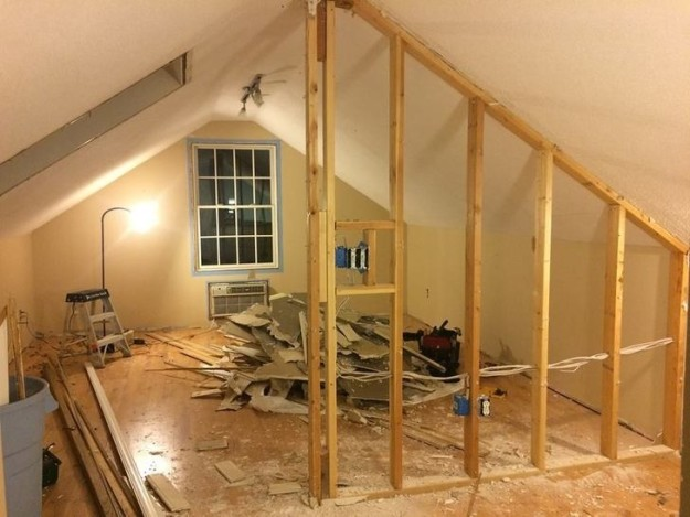 This unfinished attic with lots of work to be done...