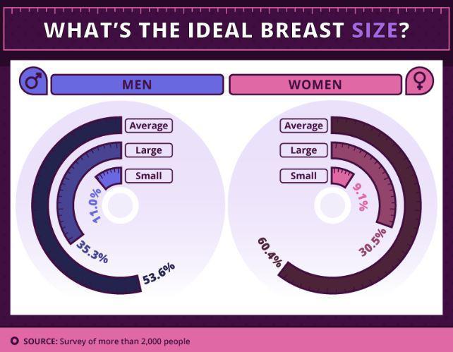 男性跟女性分別投票「揭露最理想罩杯大小」。結果顯示「這個罩杯」不分男女都愛!(投票)