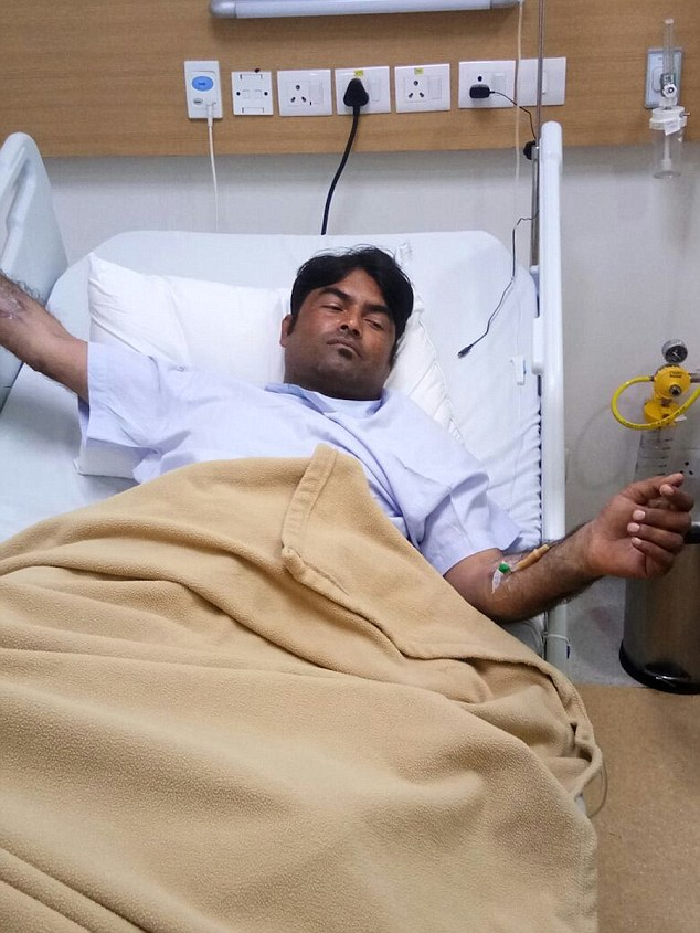 Ved Prakash, 31, pictured, is recovering in hospital after his penis was slashed off by his wife