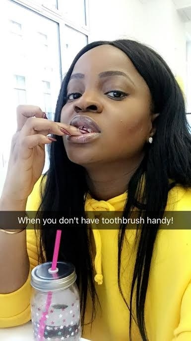 Scraping plaque off your teeth with your nails.