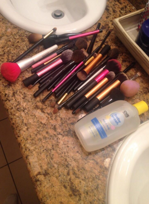 Not washing your makeup brushes for ages – like, months.