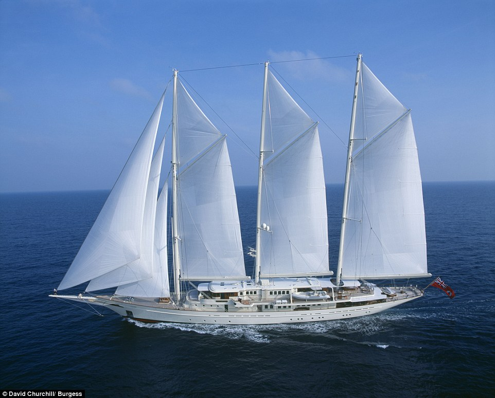 The Athena super yacht, a 295ft-long three-masted schooner, is believed to be the fourth largest sailing yacht in the world. It was built in 2004 at the Royal Huisman Shipyard in the Netherlands before undergoing a comprehensive refit in 2011