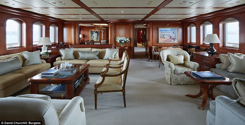 The vessel has a variety of saloons throughout decked out in lavish furnishings, rich mahogany wood and teak joinery designed by Rebecca Bradley Interior Design