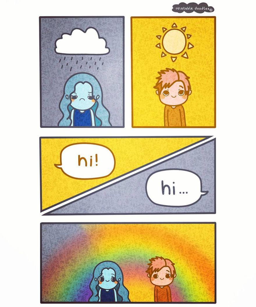10張讓所有人拍桌拍到斷掉的「超級日常困擾」爆笑趣味漫畫,#3打招呼讓人很想死!