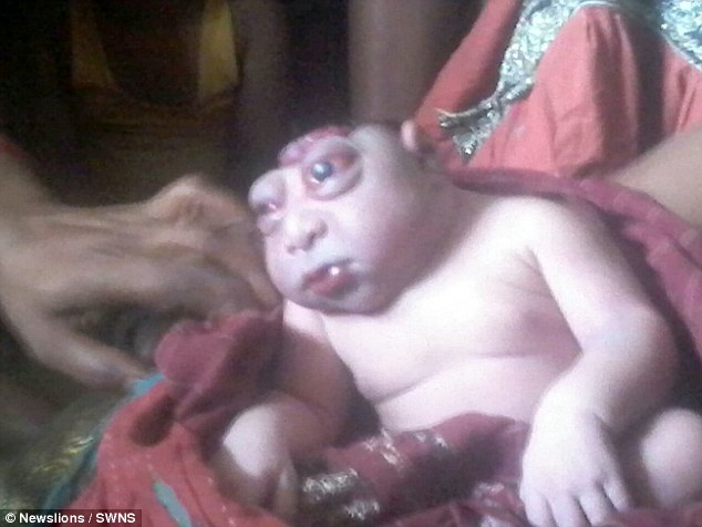 Celebrated: Locals in Kathihar, India, claim he's an incarnation of Hindu God Hanuman