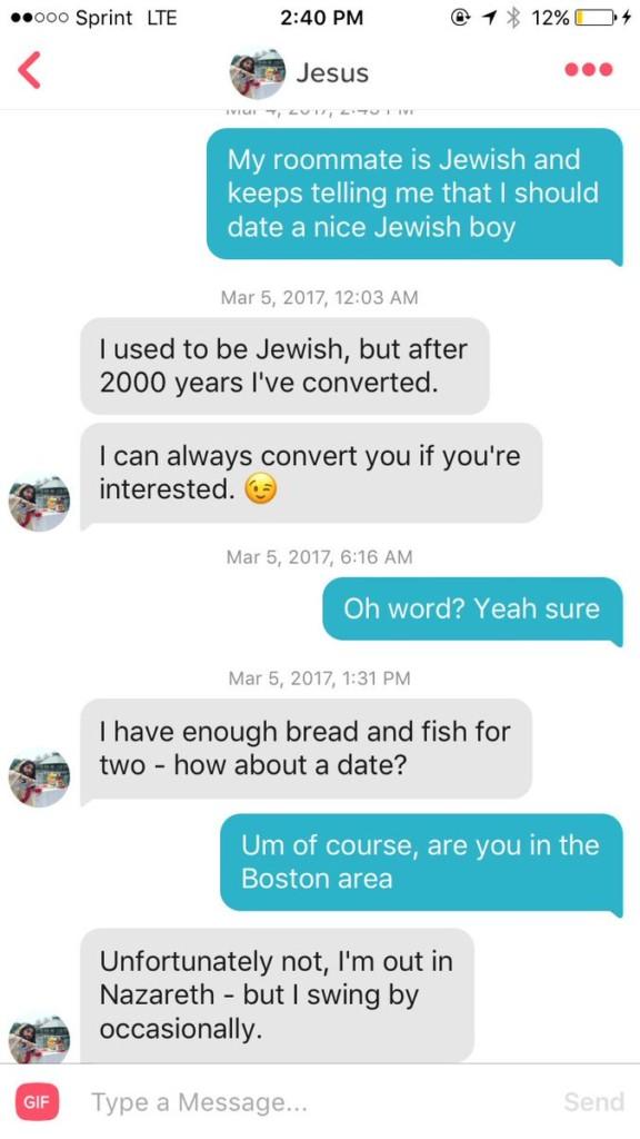 她在交友APP上「跟耶穌配對到」開始聊天,耶穌的「創世紀把妹話術」讓全網路都瘋狂了!