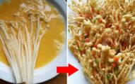 老媽牌「酥炸香脆金針菇」,「家常菜→高級平民料理」不用3分鐘就完成!(食譜)