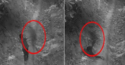 監視器拍到男孩在森林奔跑時被「鬼影撞飛扯腿」的恐怖畫面... (影片)