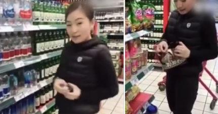 反韓中國女子在超商「公然破壞」商品超得意,拍片上傳下場被酸「愚蠢!」