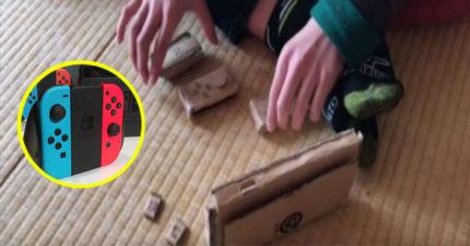 媽媽不買任天堂Switch,5年級小童用紙板自己「動手做」讓上萬人大讚! (影片)