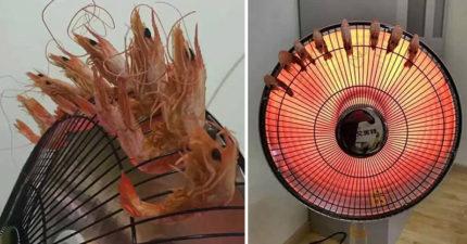 吃貨在辦公室「想吃好料」創出最猛烤蝦絕技,網友:「也太蝦了吧?!」