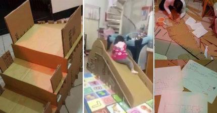 爸爸超有心幫女兒親手打造「紙箱溜滑梯」,內部超堅固設計「證明男女不平等啊」!(影片)