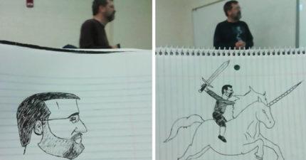 教授太無聊「學生的畫畫技巧被迫進步神速」 到最後強到已經可以當畫家了!