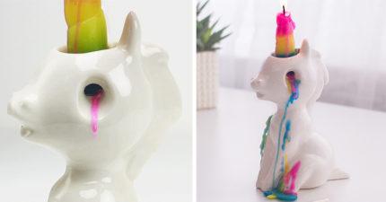 「哭泣的獨角獸」蠟燭座,一開始融化你房間就會充滿著夢幻魔力!