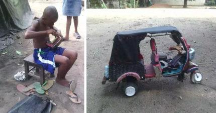 奈及利亞男孩「只用拖鞋」就神打造出三輪車,證明沒資源根本就不是藉口!