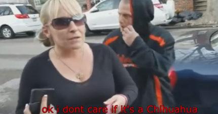 女子一直讓狗狗大便在他家門口,他強迫她直接用手撿起來!