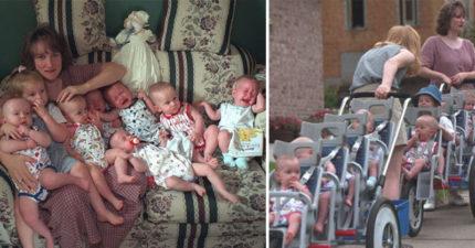 她堅持服藥「人工懷7胞胎」被全世界爆罵!20年後「7+3全家福照」成就曝光讓酸民都閉嘴了!