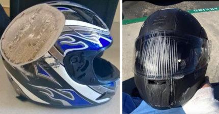 17張證明「安全帽決定你的人生」的事故照 被削掉的可能是你的頭!