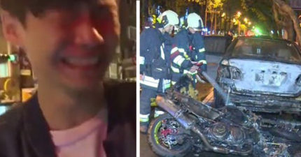 20歲男子去醫院包紮,回來發現剛買不久40萬重機TMAX 53「變成一團火」!他崩潰大哭:「我的車子...」