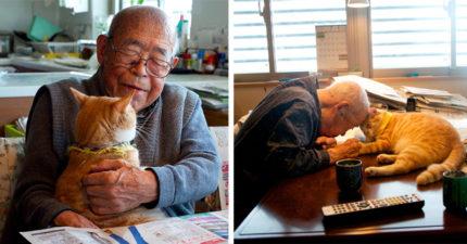 94歲爺爺生病天天愁眉苦臉,孫子給了他一隻貓咪後他的「人生大逆轉」!(19張)