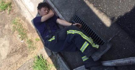 100多起掃墓火!消防員連續幾天「累到直接睡在水溝上」滿臉燻黑,到六張犁公墓:「地上有人耶!」