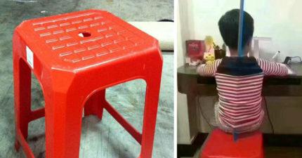 有人問「小板凳上面的洞的用途」,網友爆笑揭發「隱藏版功能」!(內有真正解答)
