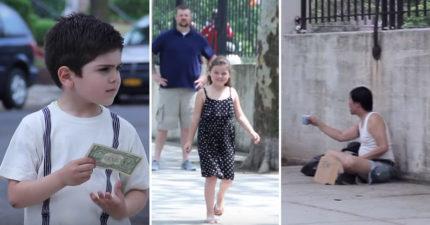 他們給幾個小孩錢看看他們會「買冰淇淋還是給街友」,1:18小女生選擇冰淇淋但最後超感人!