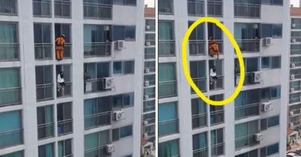 消防員趁跳樓女子不注意直接「300壯士踢」,只差沒大叫「斯巴達!」