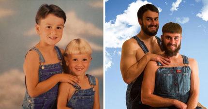 40張證明你永遠不會長大的「童年VS成年」爆笑重拍照,#7一家都帥哥美女!