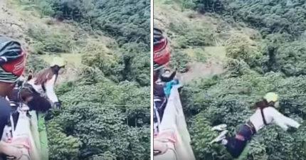 女生去玩15公尺高空彈跳,繩子太長結果讓人嚇壞。