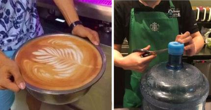 星巴克在地球日推「帶杯子可享免費咖啡」,強國民眾帶「超狂容器」讓店員對人性失去希望! (16張)