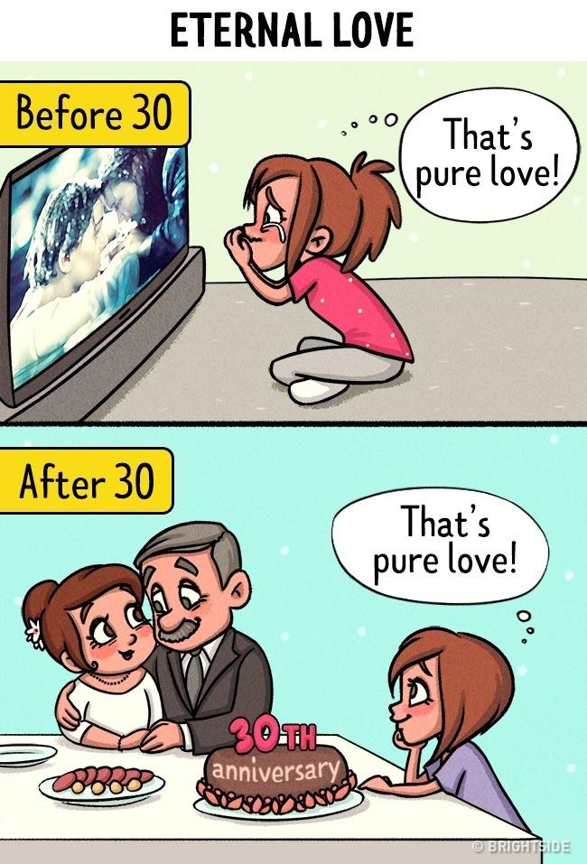 13張讓女生100%認同的「30歲前後愛情差異漫畫」。#1:30歲前都想穿性感給另一半看,但...