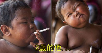 2017年最新動態!震驚全球「一天40根菸」2歲胖男孩,今年9歲已經有點帥囉!