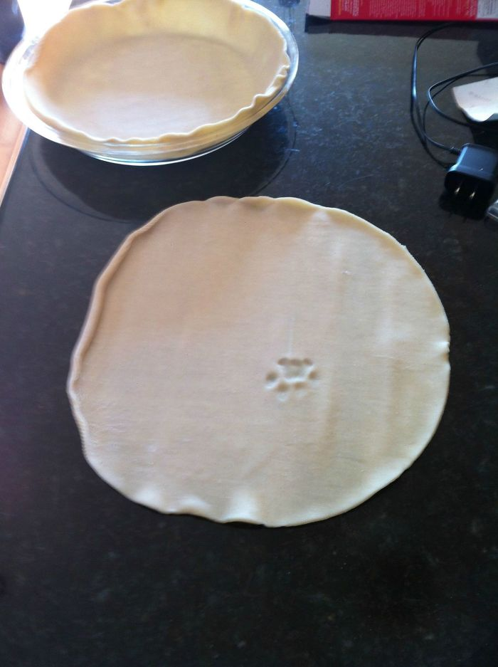Made A Pie Crust. Turned Around To Get Filling. Turned Back Around And This Is What I Found
